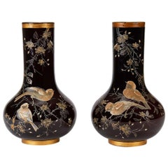 Pair of Ruby Overlay Bird Applied Glass Vases 19th Century