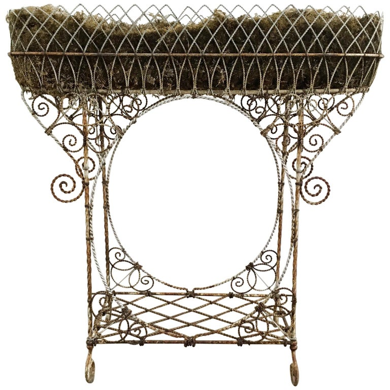 Antique French Wirework Jardinière Plant Stand For Sale