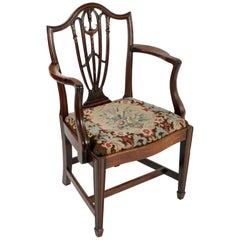 18th Century Georgian Mahogany Hepplewhite Elbow Chair