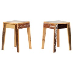 Pair of Lacquered Oak Stools by Piet Hein Eek