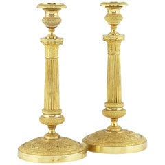 Pair of Early 19th Century French Ormolu Candlesticks