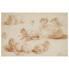 19th Century Red Chalk Drawing of Sheep by Jan van Ravenswaay