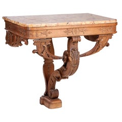 18th Century French Hand Carved Wooden One Leg Console Table with Marble Top