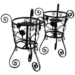 20th Century Set of Two Black Wrought Iron Painted Adjustable Plant Stands