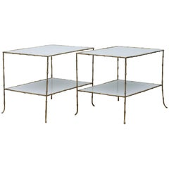 Maison Bagues Faux Bamboo Tables Having White Glass Tops