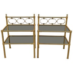 Mid-Century Modern Pair of Nightstands with Two Fumee Glass Shelves