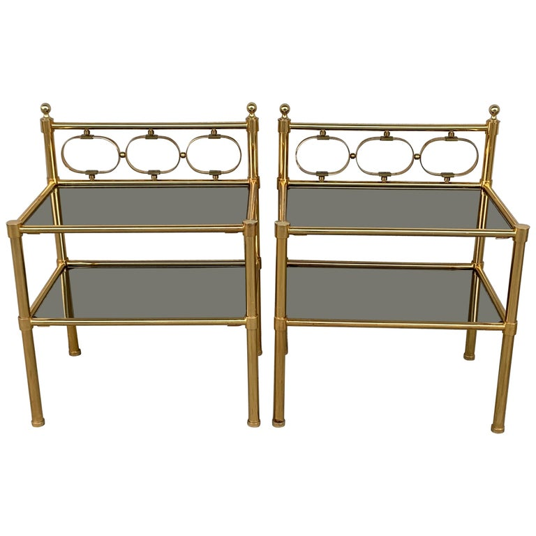 Mid-Century Modern Pair of Nightstands with Two Fumee Glass Shelves  For Sale