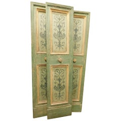 17th Century N.4 Antique Double Doors, Green and Yellow, Hand-Painted, Italy