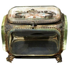 Grand Tour Style Ormolu and Glass Panelled Trinket Box, Italy Circa 1880