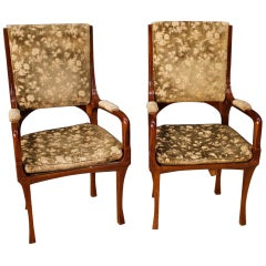 20th Century Cherrywood and Fabric Pair of French Art Nouveau Armchairs, 1920