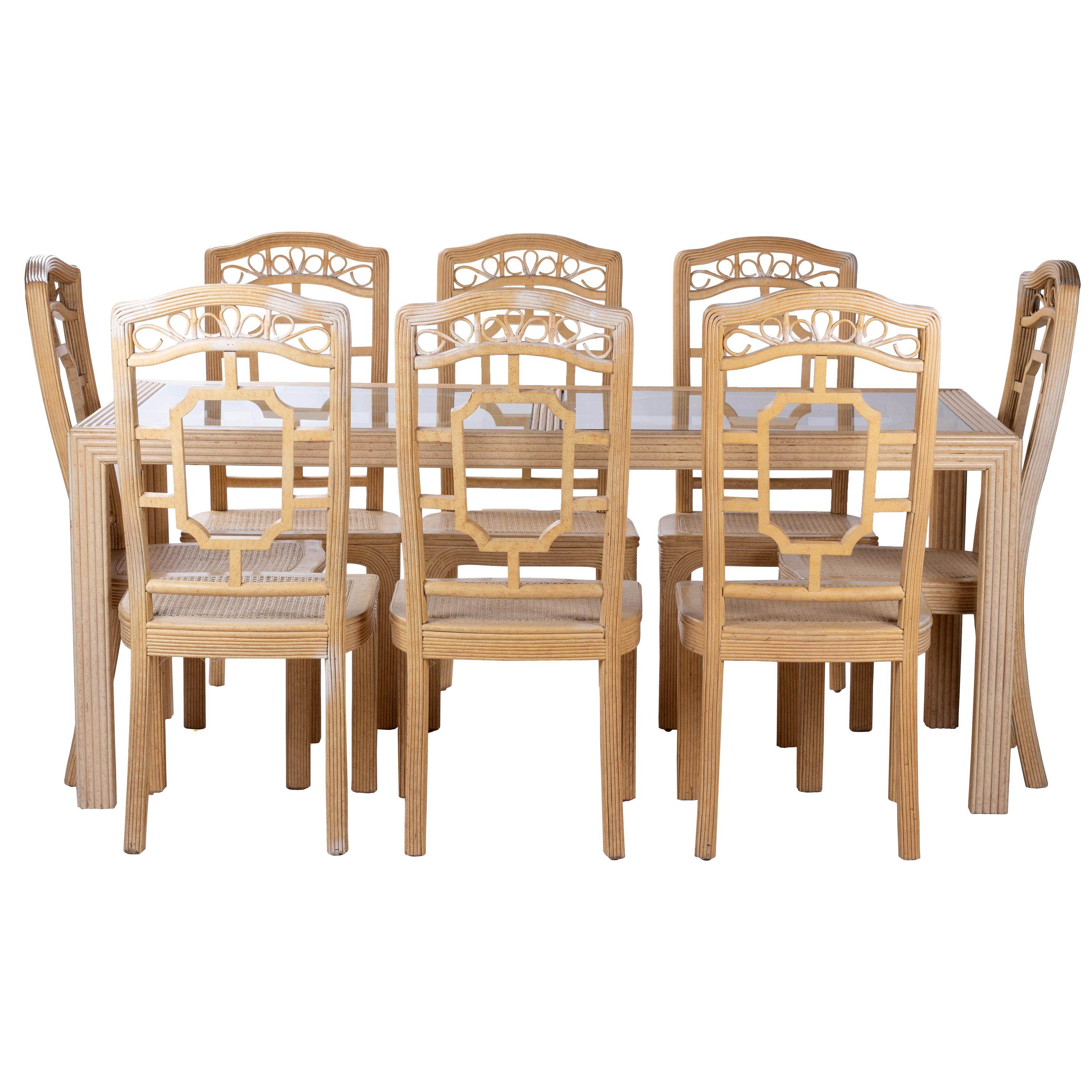 1970s English Harrod's Bamboo Oriental Style Eight Chair and Table Dining Set