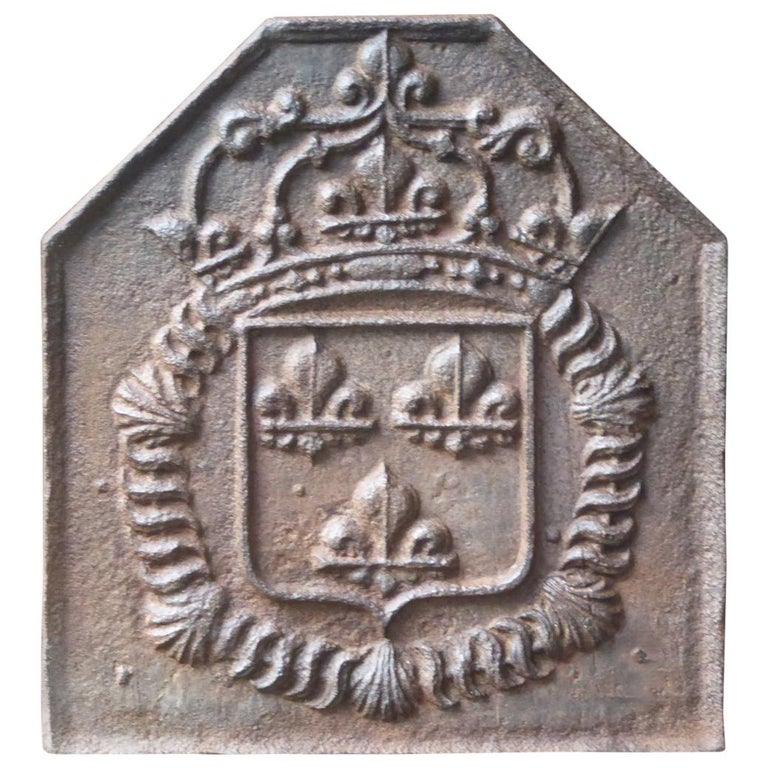18th Century French Louis XIV Fireback with the Coat of Arms of France For Sale