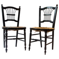 Morris & Co. an Ebonised Rush-Seat Sussex Side Chair by Daniel Gabriel Rossetti