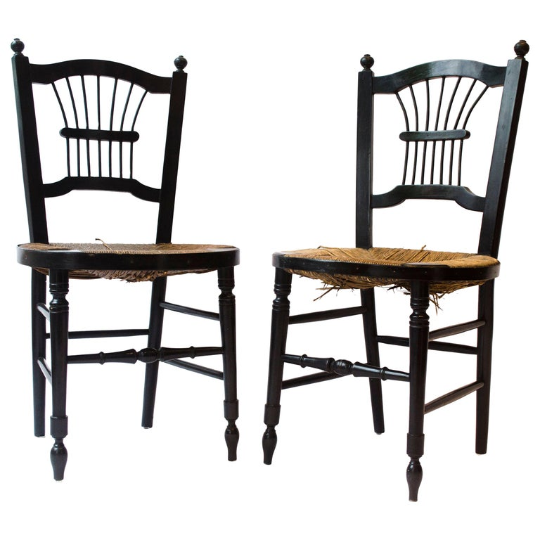 Morris & Co. an Ebonised Rush-Seat Sussex Side Chair by Daniel Gabriel Rossetti For Sale