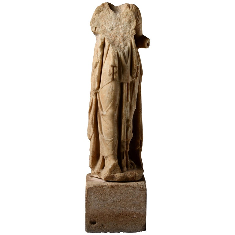 Roman Marble Statue of a Draped Woman, 100 AD For Sale