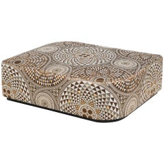Ottoman, Frame Made of Solid Timber and Plywood, Bronze / Silver Finish Skirting