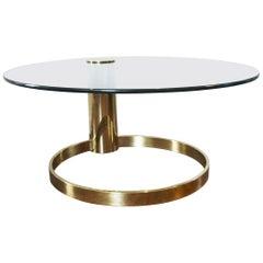 Modernist Brass and Glass Coffee Table by John Mascheroni