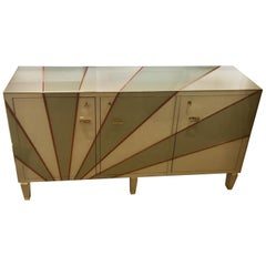 Multicolored Opaline Glass Credenza Geometrical Design and Brass Edges, 1970s