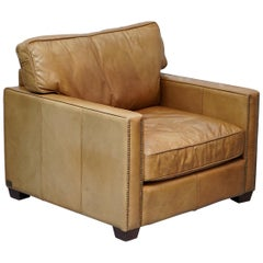 Timothy Oulton Halo Viscount William Large Armchair in Brown Leather