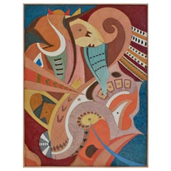 Abstract Art Wall Panel Polychrome Scagliola Bas-relief painting decoration