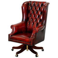 Bevan Funnell Presidents Oxblood Leather Swivel Wingback Office Chair