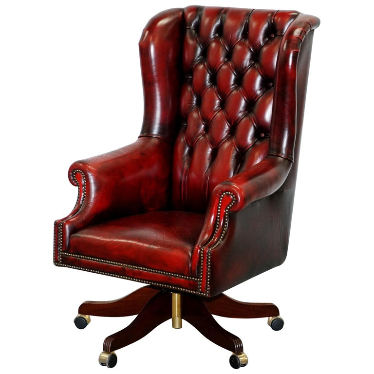 Bevan Funnell Presidents Oxblood Leather Swivel Wingback Office Chair At 1stdibs