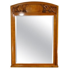 French Art Nouveau Hand Carved Fireplace Mantel Mirror in Solid Cherrywood