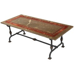 Grey Brown Marble Coffee Cocktail Table Red  Inlay Black Wrought Iron Base