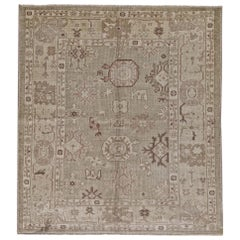 Green and Ivory Handmade Wool Distressed Turkish Antique Oushak Rug
