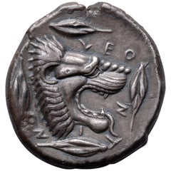 Ancient Greek Silver Lion Tetradrachm Coin from Leontini, 450 BC