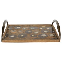 Organic Modern Shagreen Tray with Mother of Pearl Inlays and Bronze Hardware