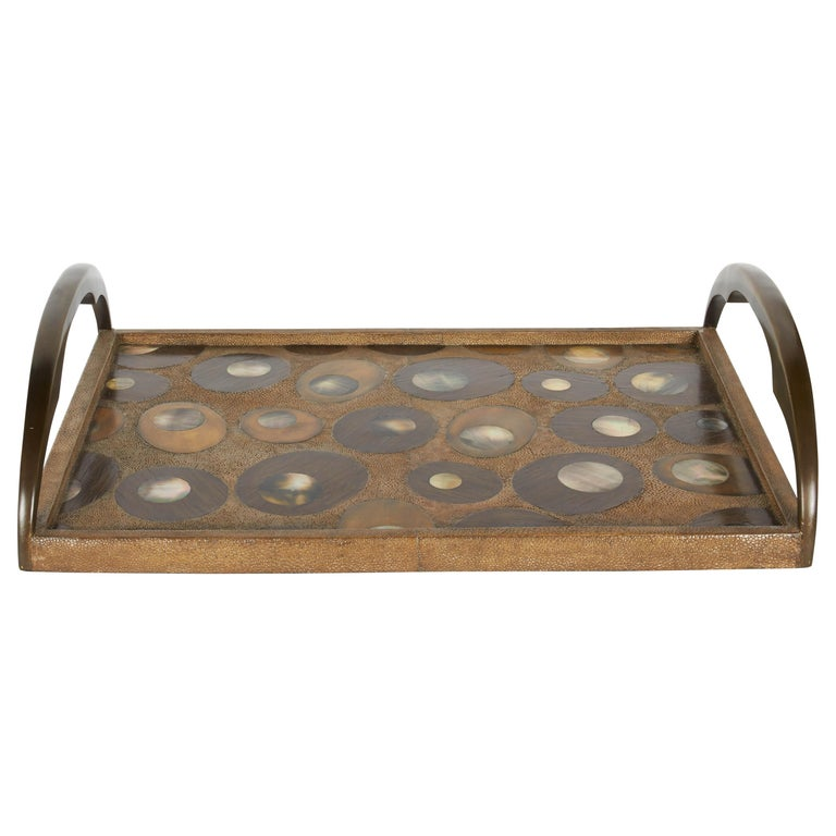 Organic Modern Shagreen Tray with Mother of Pearl Inlays and Bronze Hardware For Sale