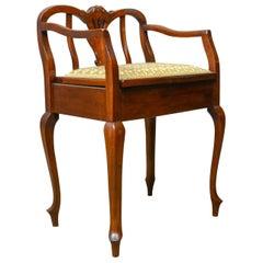 Antique Music Stool, English, Edwardian, Mahogany, Piano Seat, Needlepoint