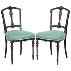 Pair of Rare Gillows Lancaster circa1870 Aesthetic Movement Ebonised Side Chairs