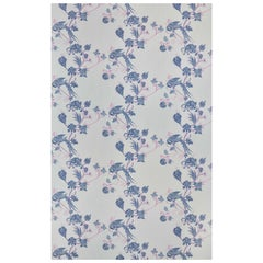 'Vintage Bird Trail' Contemporary, Traditional Wallpaper in Blue/Pink