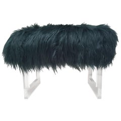 Sheepskin and Lucite Bench