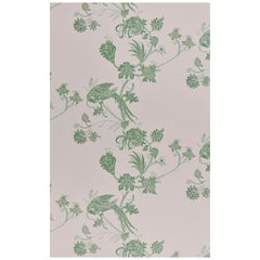 'Vintage Bird Trail' Contemporary, Traditional Wallpaper in Plaster/Green