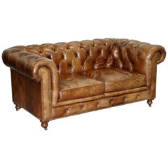 1 of 2 Timothy Oulton Halo Westminster Brown Leather Chesterfield Sofas