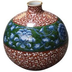 Japanese Contemporary Imari Red Blue Green Porcelain Vase by Master Artist