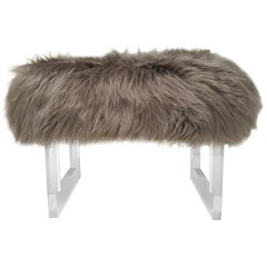 Lucite and Taupe Sheepskin Bench