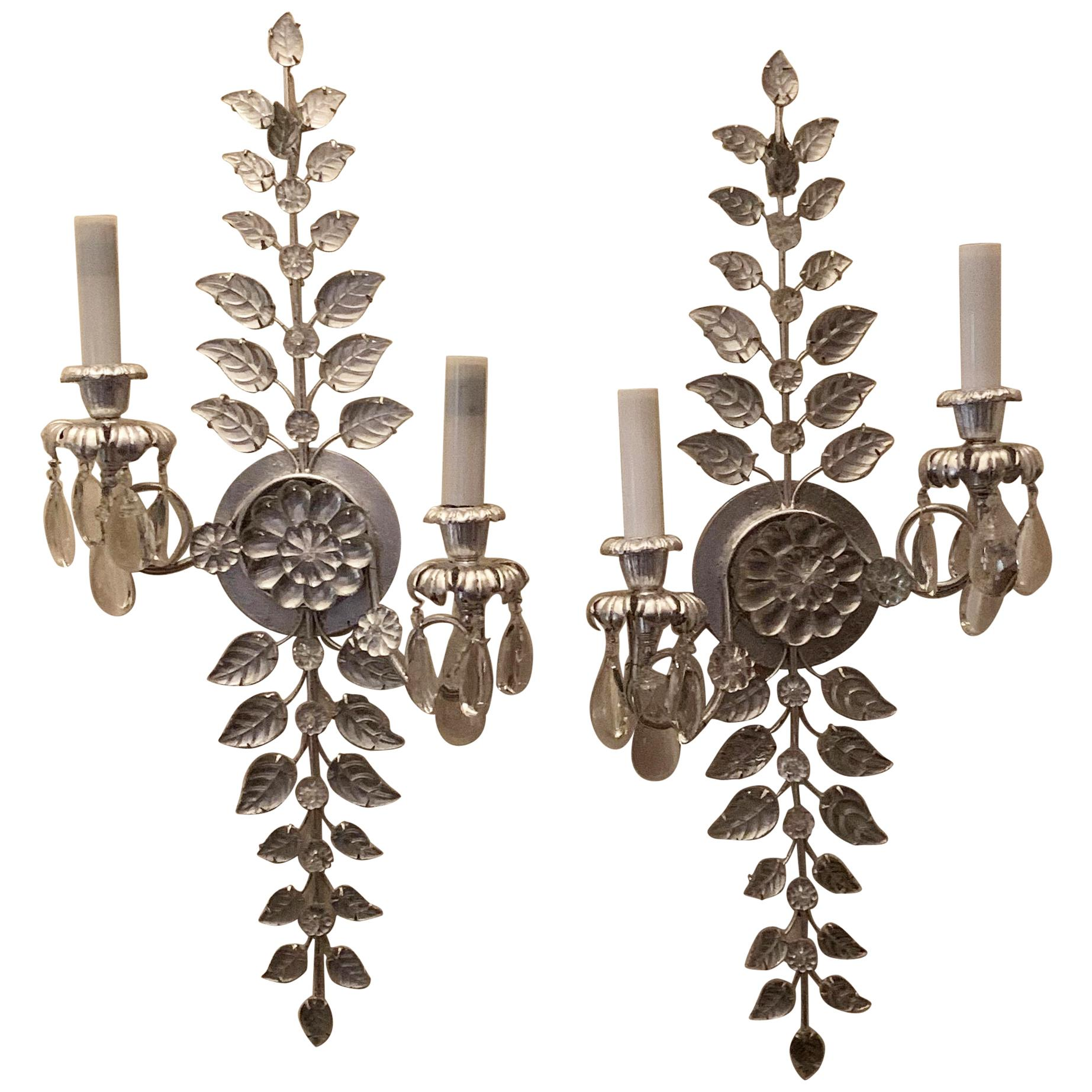 Fine Pair of Baguès Style French Silver Leaf Crystal Flower 2-Tier Light Sconces