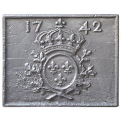 18th Century French Louis XIV 'Arms of France' Fireback