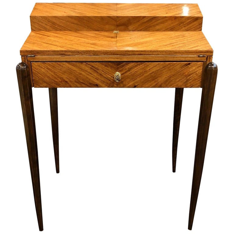 1930s French Art Deco Davenport on Thin Table Legs in Real Wood Veneer For Sale