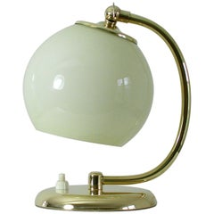 Vintage 1930s German Bauhaus Art Deco Brass and Opal Table Lamp Sconce