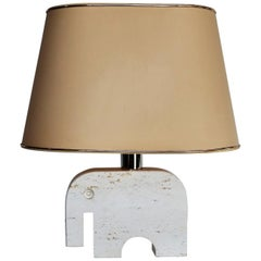 Italian Elephant Table Lamp in Travertine Marble by Fratelli Manelli, 1970s