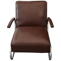 Armchair / Cantilever Tubular Steel Brown Leather from Mücke Melder, 1930s