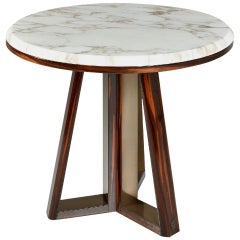 Coffee Table Wooden Base Ebony Finish Top in Calacatta Gold Marble