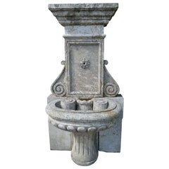 20th Century Limestone Wall Fountain from France
