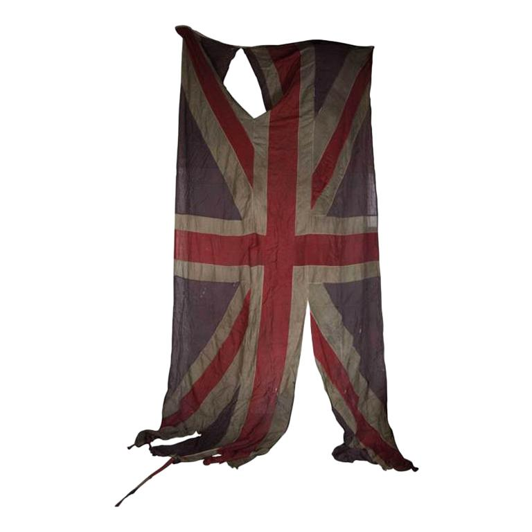 British Union Jack Flag from the 19th Century in a Heavily Distressed Condition For Sale