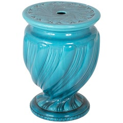 English Majolica Turquoise Ground Garden Seat by Minton